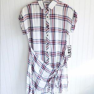White Fall Plaid Tie Shirt Dress